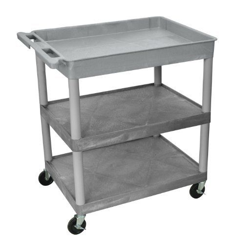 Luxor Tc122 G 3 Shelf Tub Cart By Luxor 282 28 The Luxor 32 X 24 Heavy Duty Utility Cart Is A Feature Filled Multi Purpo Utility Cart Large Tub Shelf Cart