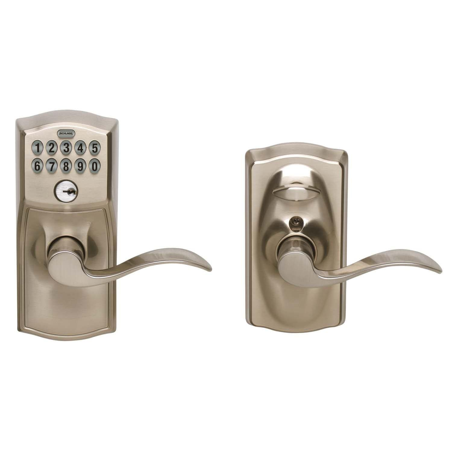 Schlage Fe595vcam619acc Satin Chrome Accent Entry Lever