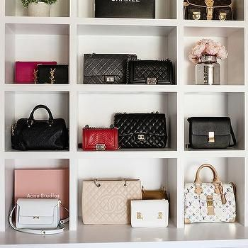 Closet With Built In Purse Shelves