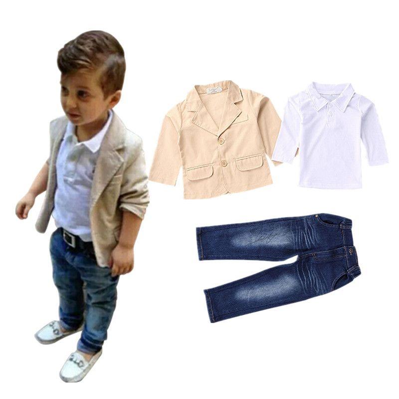 aaaf1f362 Encontrar Más Sistemas de la ropa Información acerca de 2 8 años de Los Niños  ropa 2016 Nuevo 3 unids infantil chicos ropa conjuntos de chaqueta de la  capa ...