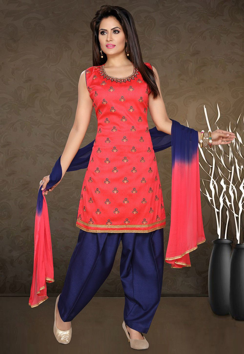 91d6d49947 Art Dupion Silk Punjabi Suit in Pink This Readymade Sleeveless piece is  Enhanced with Resham, Zari and Lace Work and is Crafted in Round Neck  Available with ...