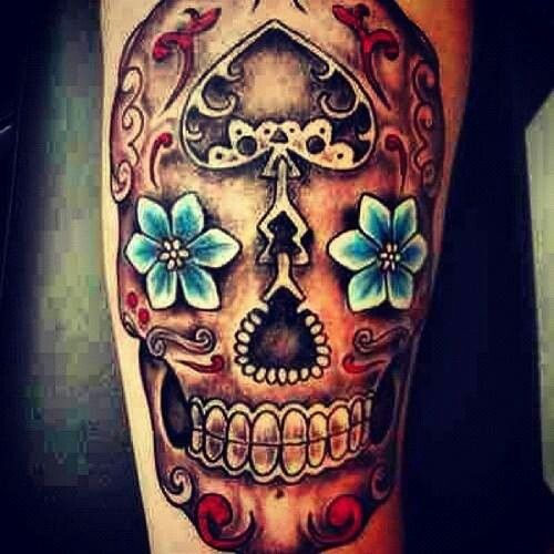 Badass Sugar Skull Tattoo Tattoos Mexican Skull Tattoos