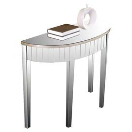 """Contemporary demilune console table covered in mirrored panels and silver leaf.   Product: Console tableConstruction Material: Birch, MDF and mirrored glassColor: SilverFeatures: Silver leaf platingDimensions: 30"""" H x 42"""" W x 16"""" D"""