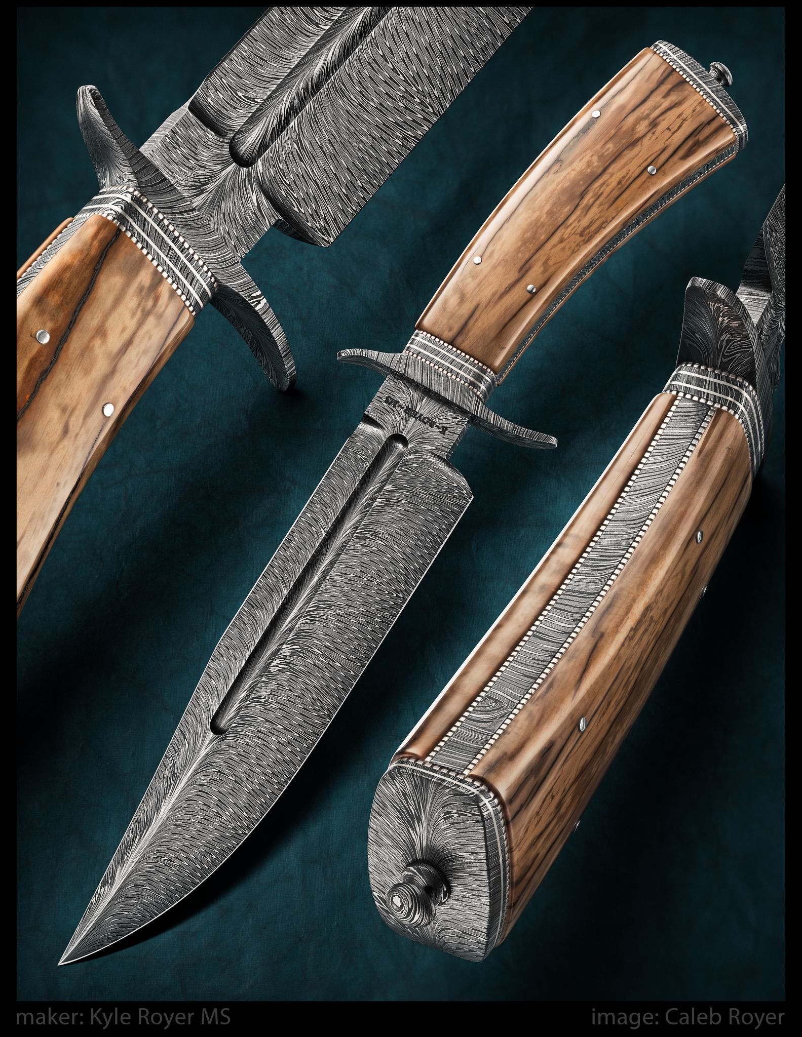 maker: Kyle Royer MS Vest Fighter Feather Pattern Damascus Mammoth