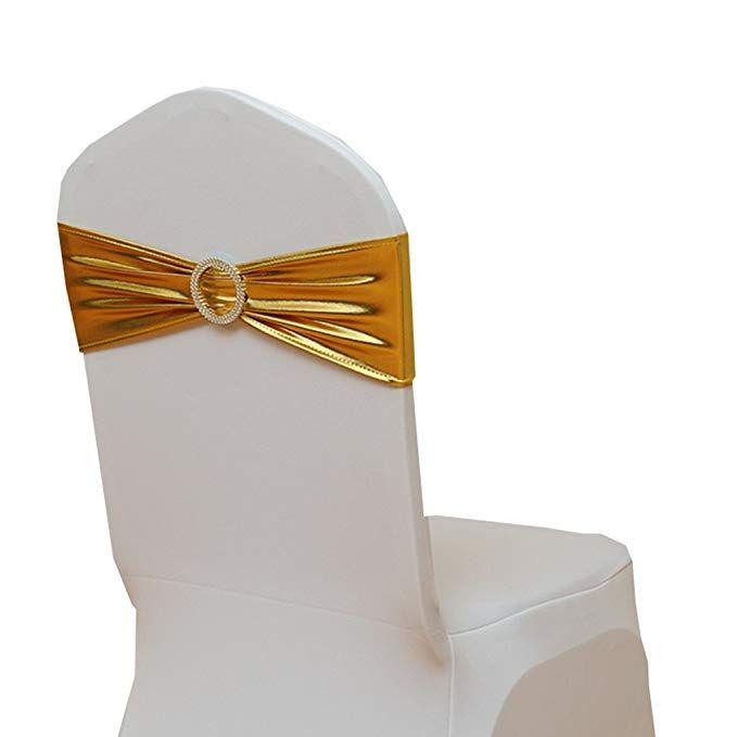 Sensational Fvstar 20Pcs Wedding Chair Sashes Gold Chairs Bows Elastic Lamtechconsult Wood Chair Design Ideas Lamtechconsultcom