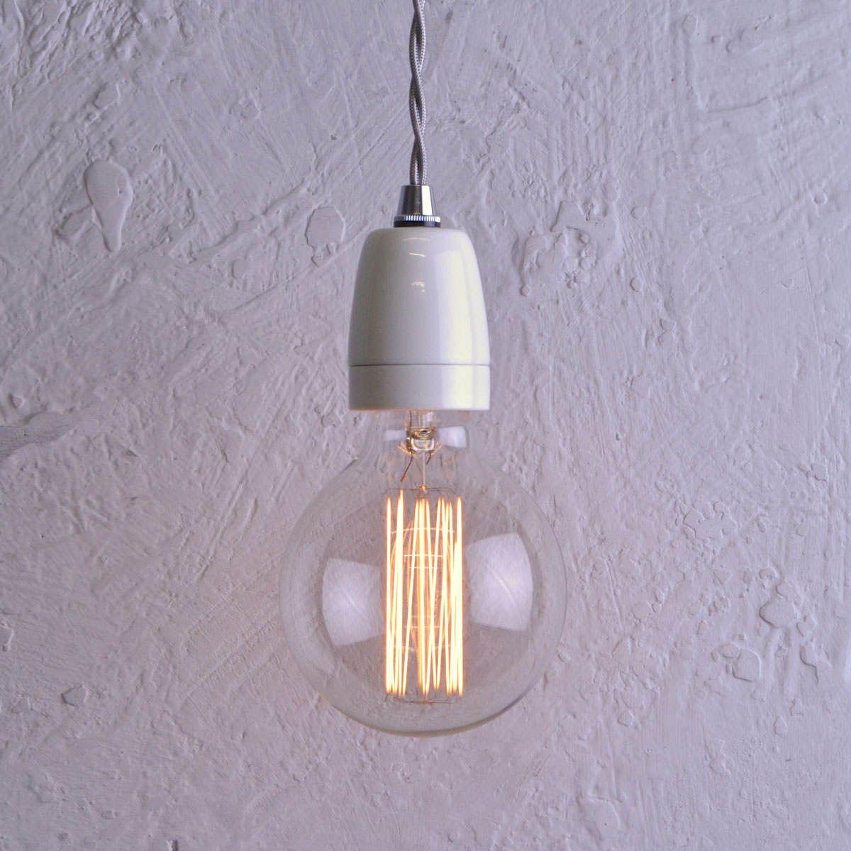 Ceramic Vintage Pendant Light White Artifact Lighting