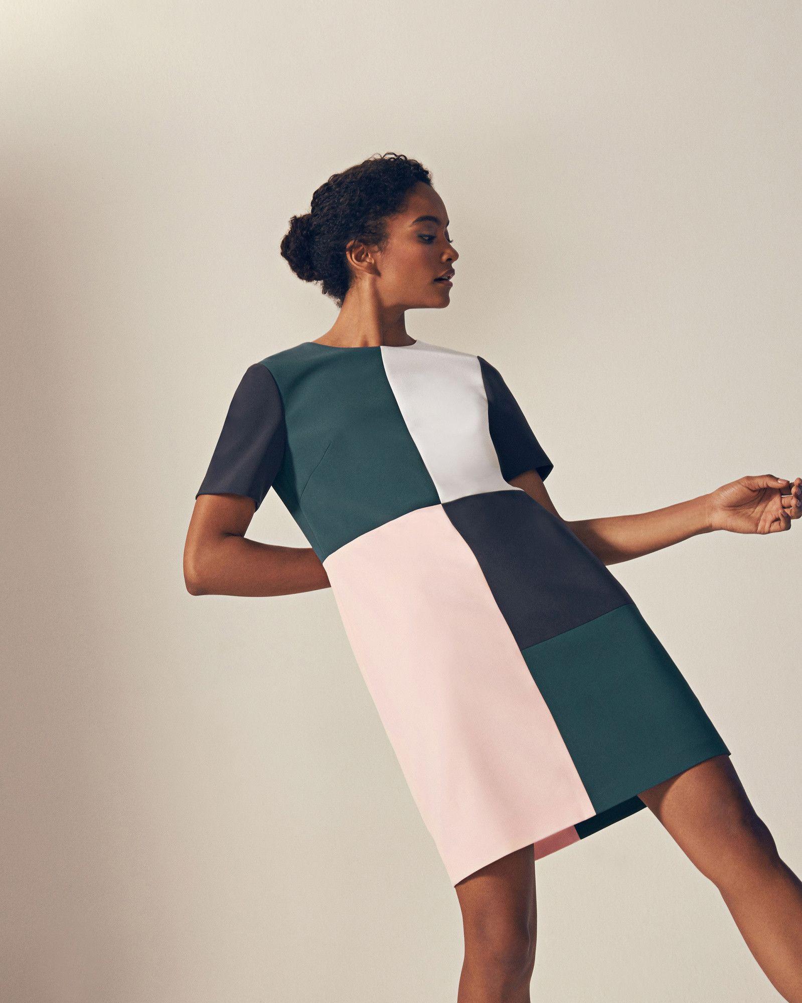 136ba03aaee6d9 Colour block shift dress - Teal