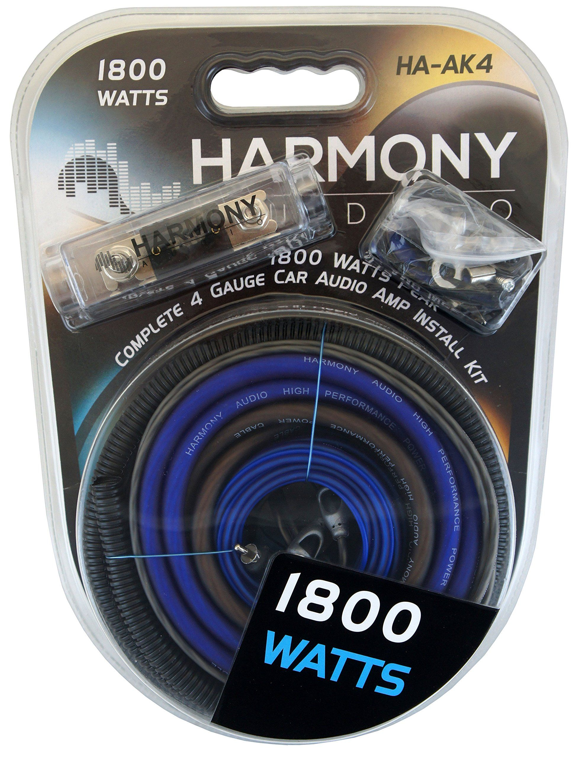 Harmony Audio Ha Ak4 Car Stereo Complete 4 Gauge 1800w Amp Amplifier How To Install In Kit
