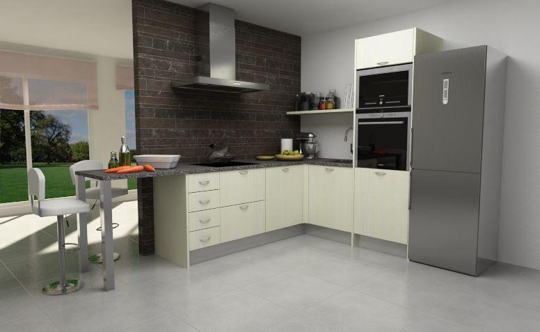 Modelo de #cocina en L con puerta Tahón laminado