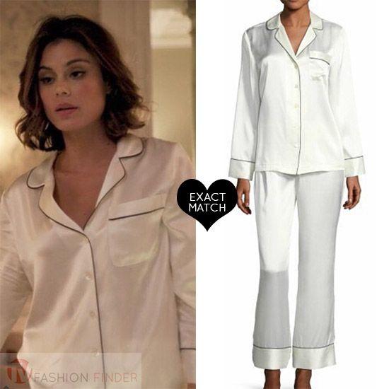 Cristal Flores In White Silk Satin Pajamas Worn On Dynasty Season 1