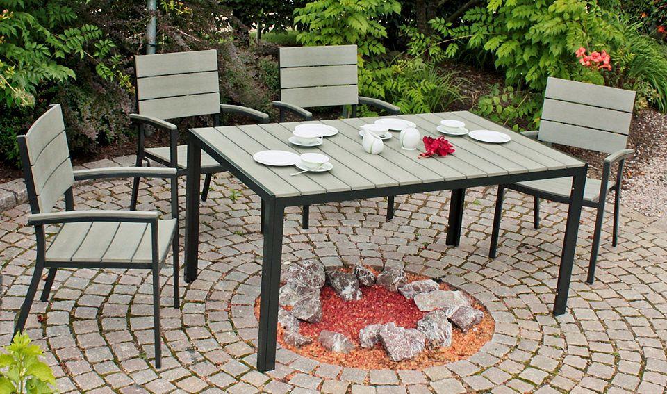 GARDEN PLEASURE Gartenmöbelset »OLIVIA«, 7-tlg, 6 Stühle, Tisch - garten lounge mobel holz