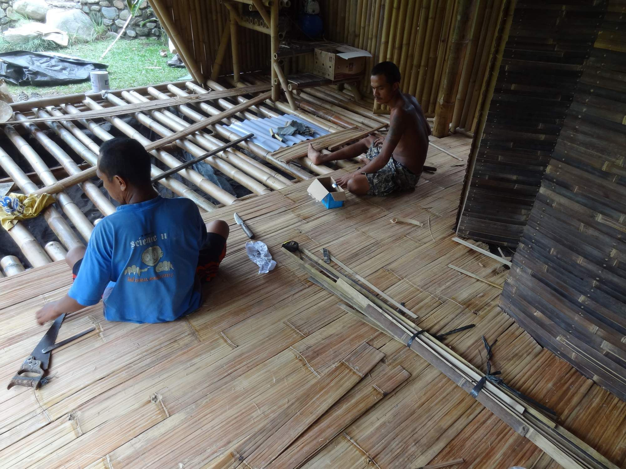 Bamboo Floor In Progress With Images Bamboo House Bali