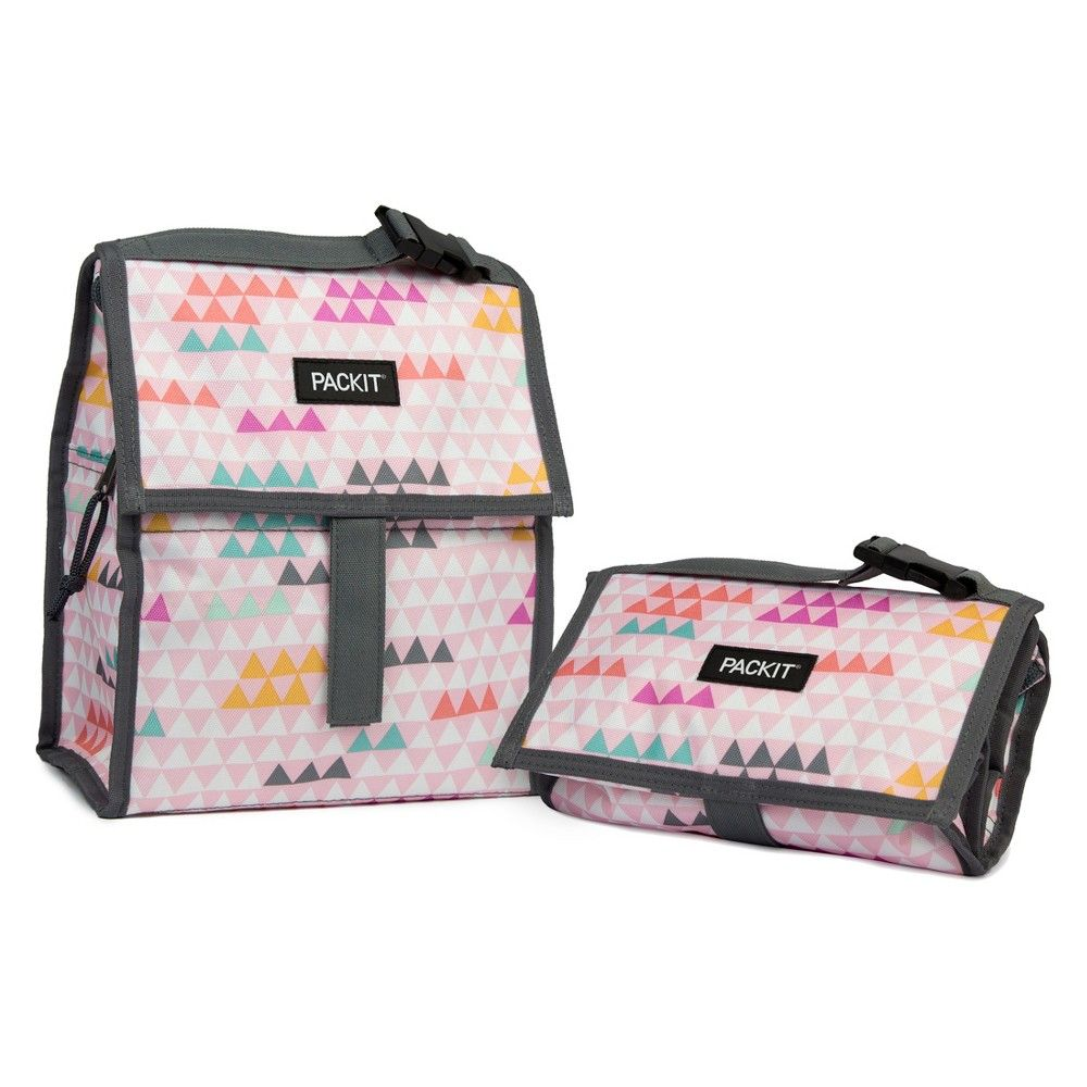 Packit Freezable Lunch Bag Pink Triangles Pink Triangle Lunch