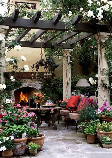 Marvelous Great Ideas For Backyard Entertaining. Great Patio: Arbor, Fireplace,  Potted Plants.