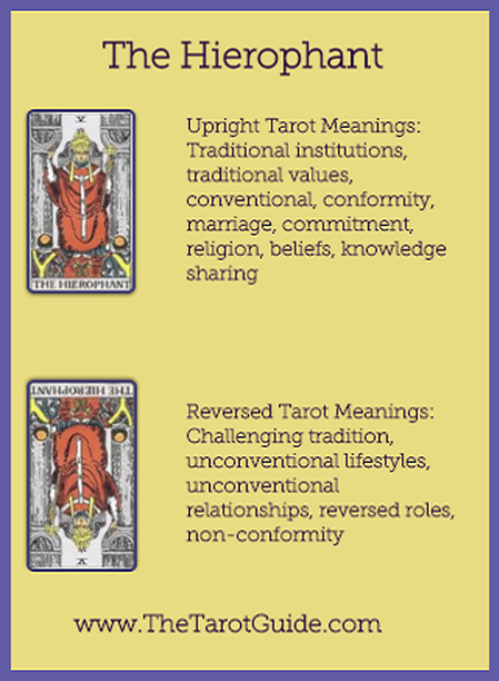 The Hierophant Tarot Flashcard Upright And Reversed Meaning By The Tarot Guide Major Arcana