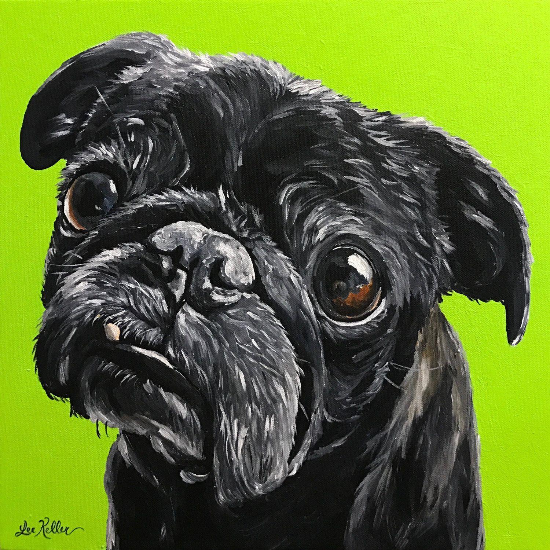 Black pug print colorful pug art print canvas pug art
