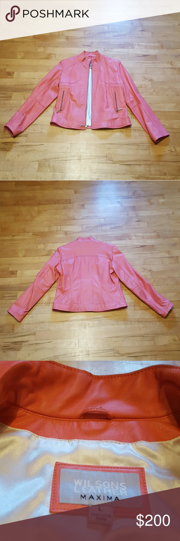 Wilsons Leather Jacket Brand new peach leather jackect. Polyester body lining  and nylon arm lining. Zips in the front with two zip up pockets on the sides. Fits a large but a tiny bit snug would fit a medium for a looser look. Never been worn  dont know why i cut off the tags. Wilsons Leather Jackets & Coats