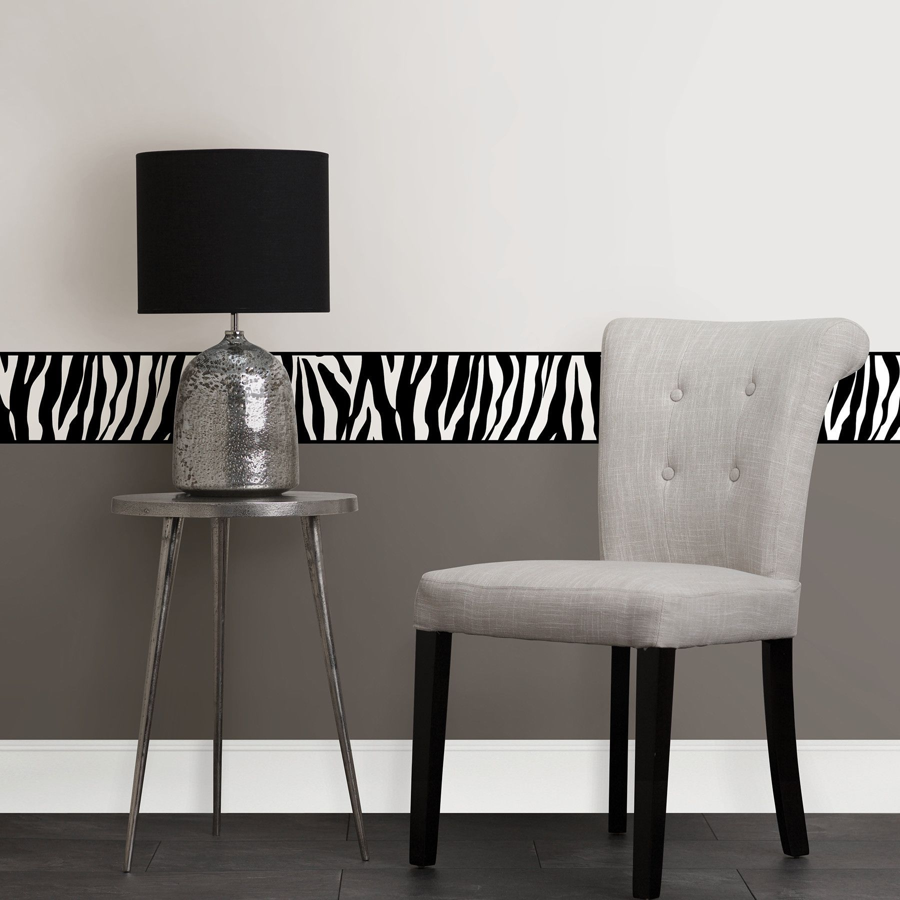 "16.3' x 5.9"" Zebra Peel and Stick Border Wallpaper"