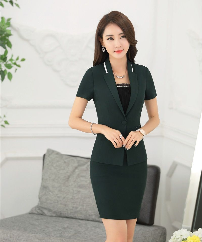 9fc3c7c9c78 Summer Fashion Green Blazer Women Business Suits with Skirt and Jacket Sets  Formal Ladies Office Uniform Designs OL Styles