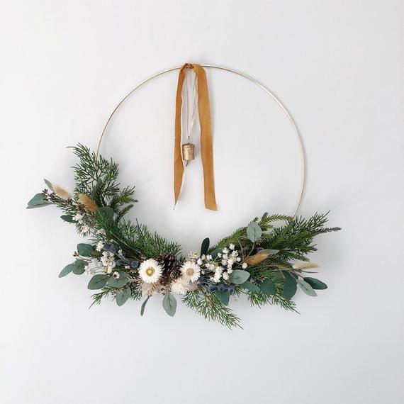 Photo of Minimalist Hoop Wreath with Vintage Bell, Modern Spring Wreath, Modern Holiday Wreath, Dried flower wreath