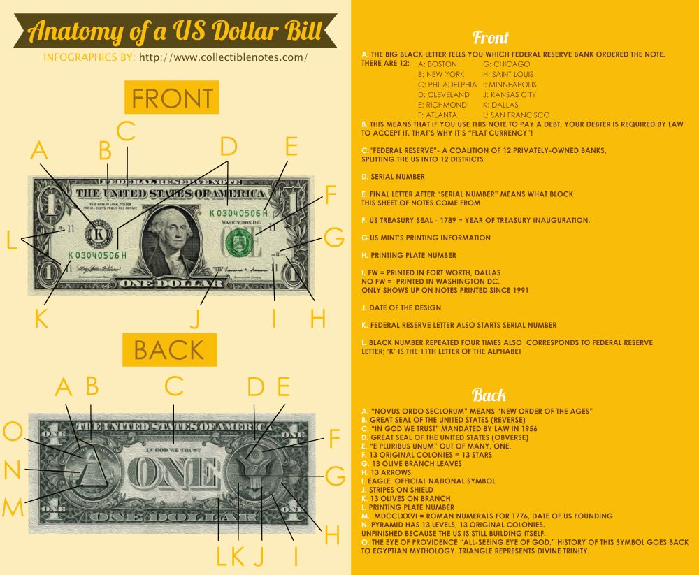 Anatomy Of A Us Dollar Bill Httpcollectiblenotesblog