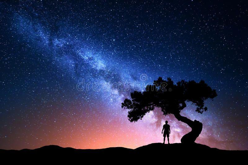 Milky Way Tree And Silhouette Of Alone Man Night Landscape Milky Way Night S Sponsored Man Ni Night Landscape Night Sky Photography Astrophotography