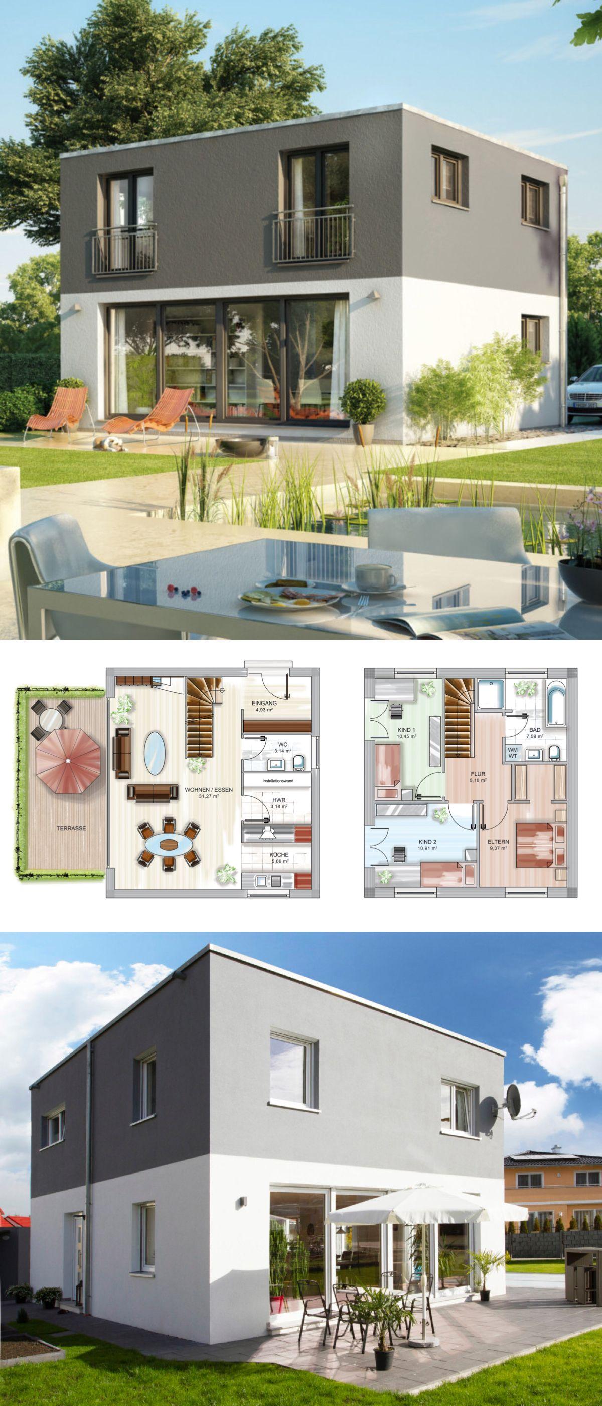 Modernes Haus im Bauhausstil - Fertighaus Neubau massiv bauen ...