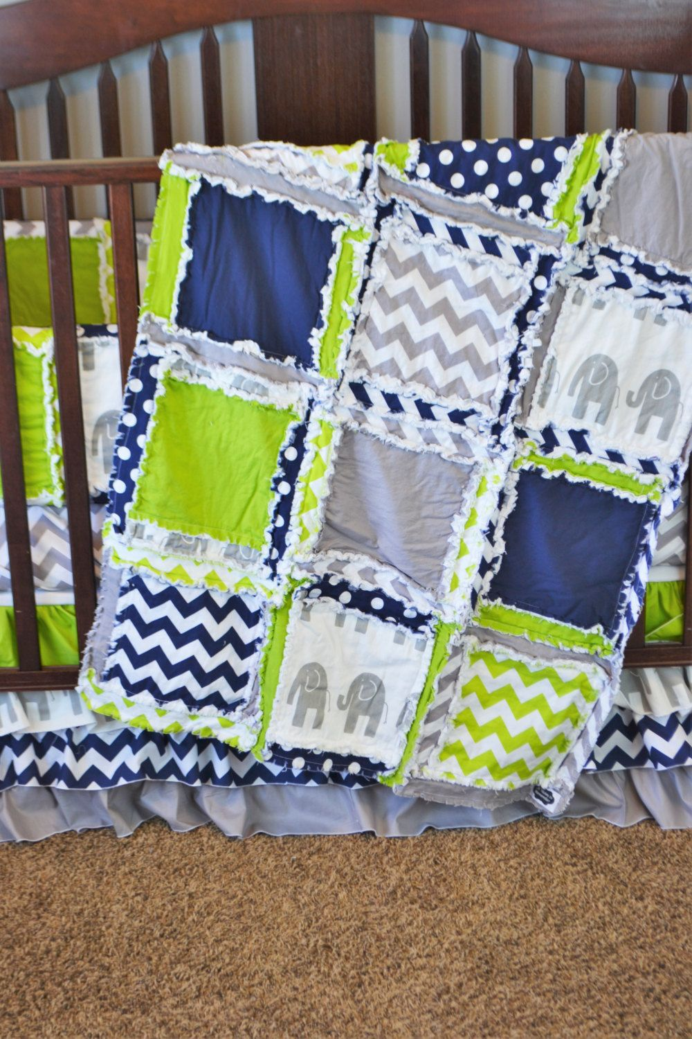 elephant crib bedding blue lime green gray baby boy made to order baby boy crib set for. Black Bedroom Furniture Sets. Home Design Ideas
