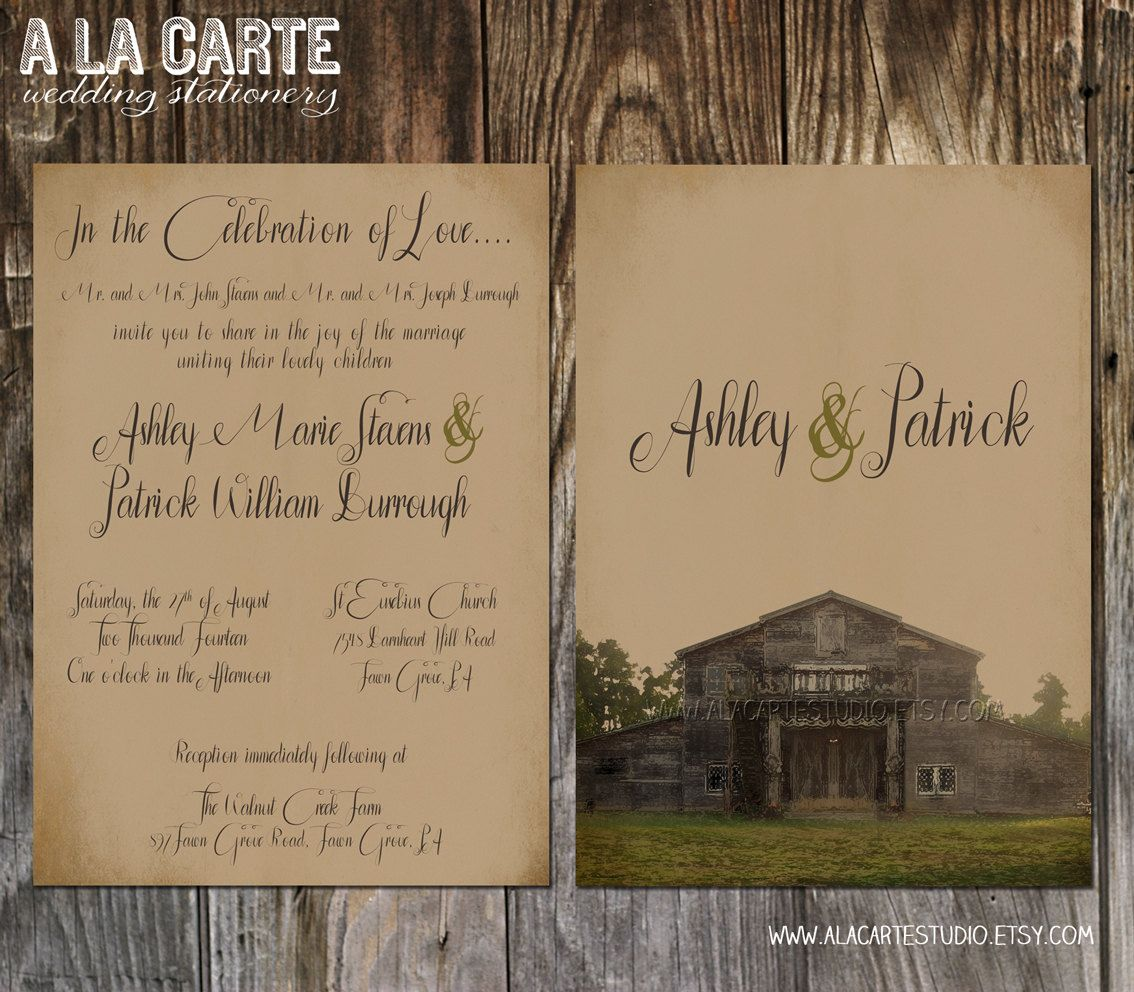 rustic barn wedding invitation suite invitation and rsvp card rustic vintage wedding kraft