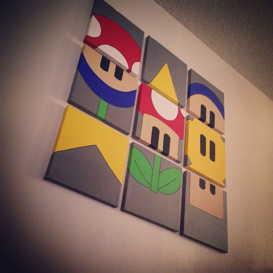 A Super Mario Bros Hand Painted 9 Canvas Wall Art Created By Lessthanthree Designs Www Facebook Com Kids Canvas Art Game Room Decor Video Game Room Design