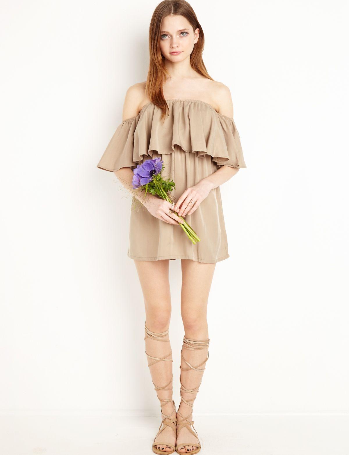 7e681adfd5f1 Khaki off The Shoulder Dress  fashion  pixiemarket