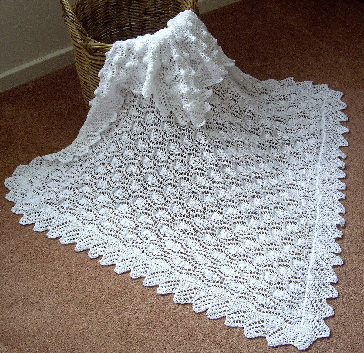 Christening Shawl Knitting Pattern Free : Beautiful Baby Shawl Blanket Hand Knitted in A Lace Medallion Pattern baby ...
