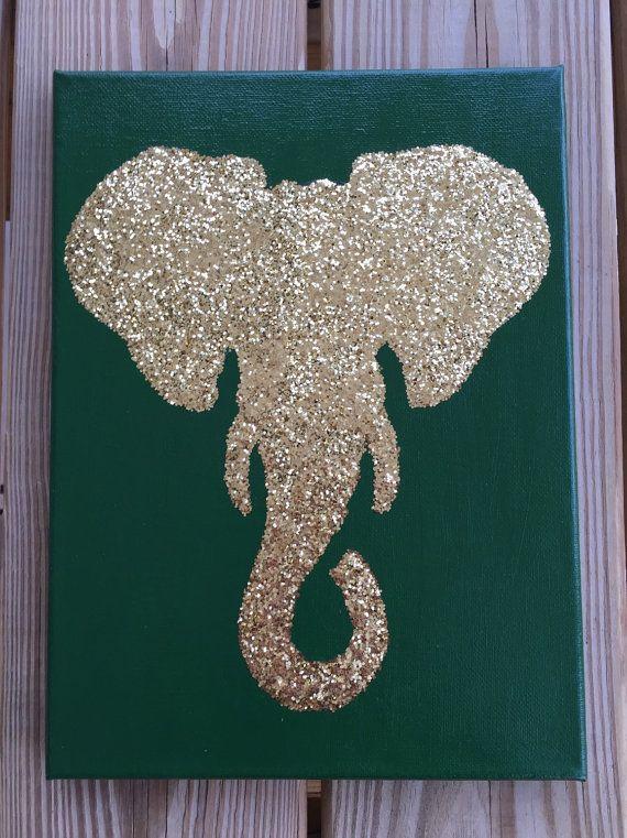Custom 9x12 Glittered Elephant Silhouette Canvas Art