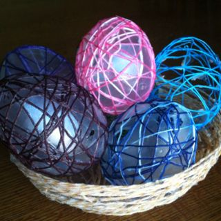 Easter egg fun, mod podge, string and balloons, in a string basket.