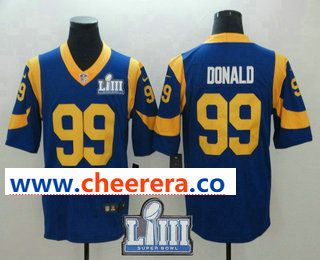 26688f186 Men s Los Angeles Rams  99 Aaron Donald Royal Blue 2019 Super Bowl LIII  Patch Vapor Untouchable Stitched NFL Nike Limited Jersey