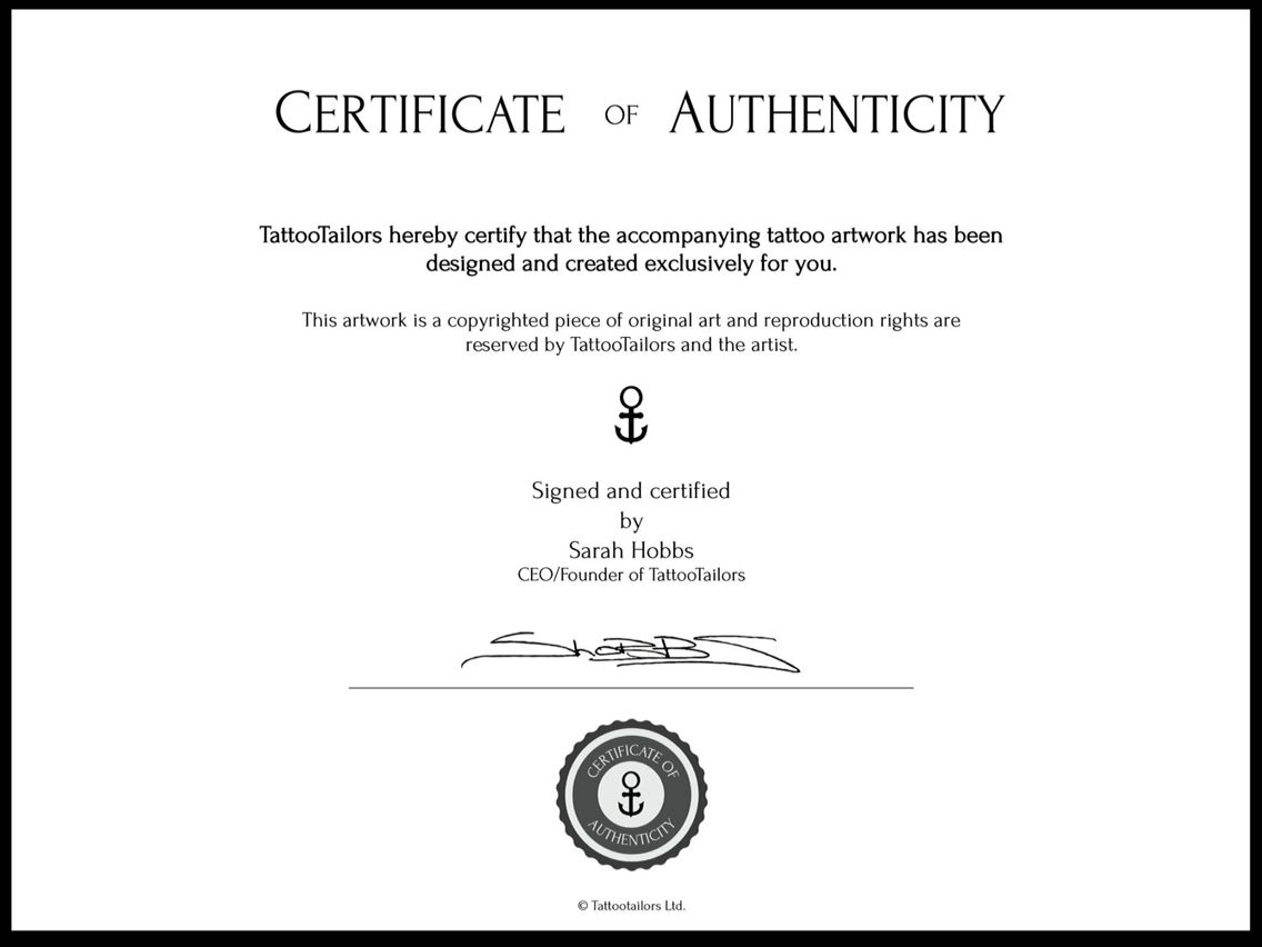 All Our Tattoo Artwork Comes With A Certificate Of Authenticity