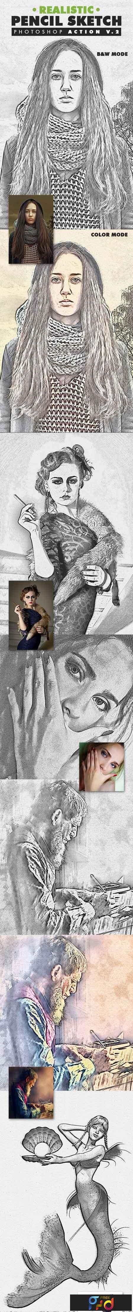 Realistic pencil sketch photoshop action vol 2 19553148 • freepsdvn
