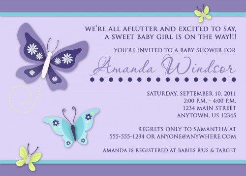 Beautiful Erfly Custom Printable Baby Shower Invitation