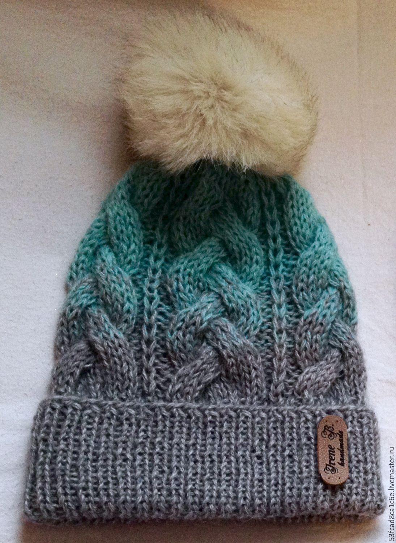Купить Шапка с градиентом - серый, шапка, шапка вязаная, шапка с ...