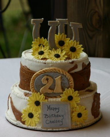 Astounding 21St Birthday Western Themed Cake Country Birthday Cakes Funny Birthday Cards Online Aboleapandamsfinfo
