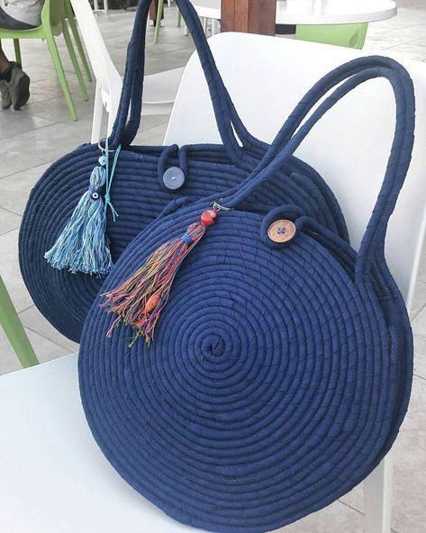 BY ORDER ONLY: Medium Round Blue Jeans Basket Bag, Monochrome Basketbag, French Style Basket Bag, Handmade Denim Bag