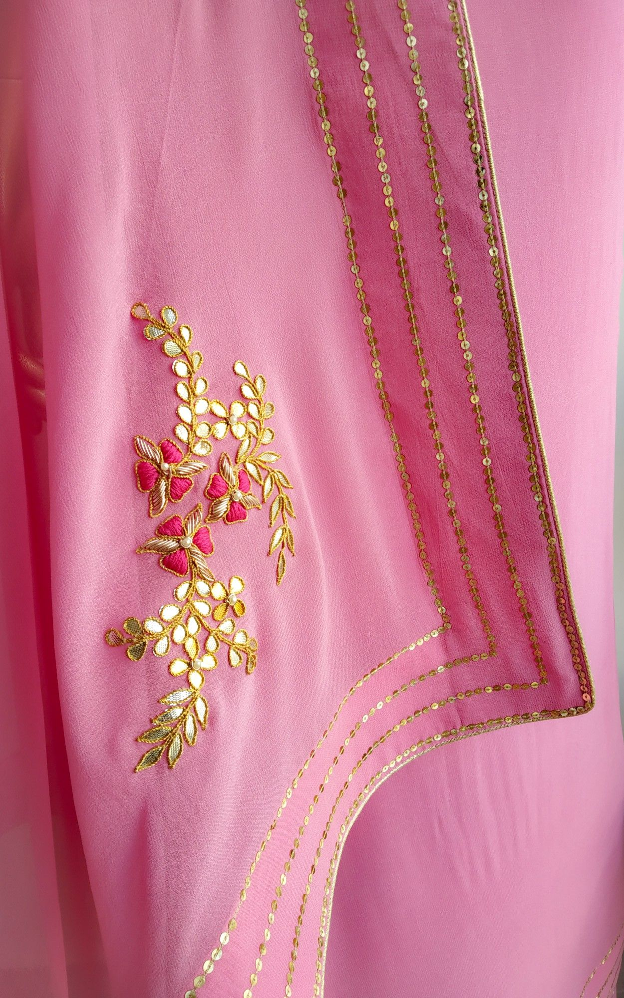 09849cca67171f Light Pink Sequins Border Saree with Gota Patti Blouse in 2019 ...