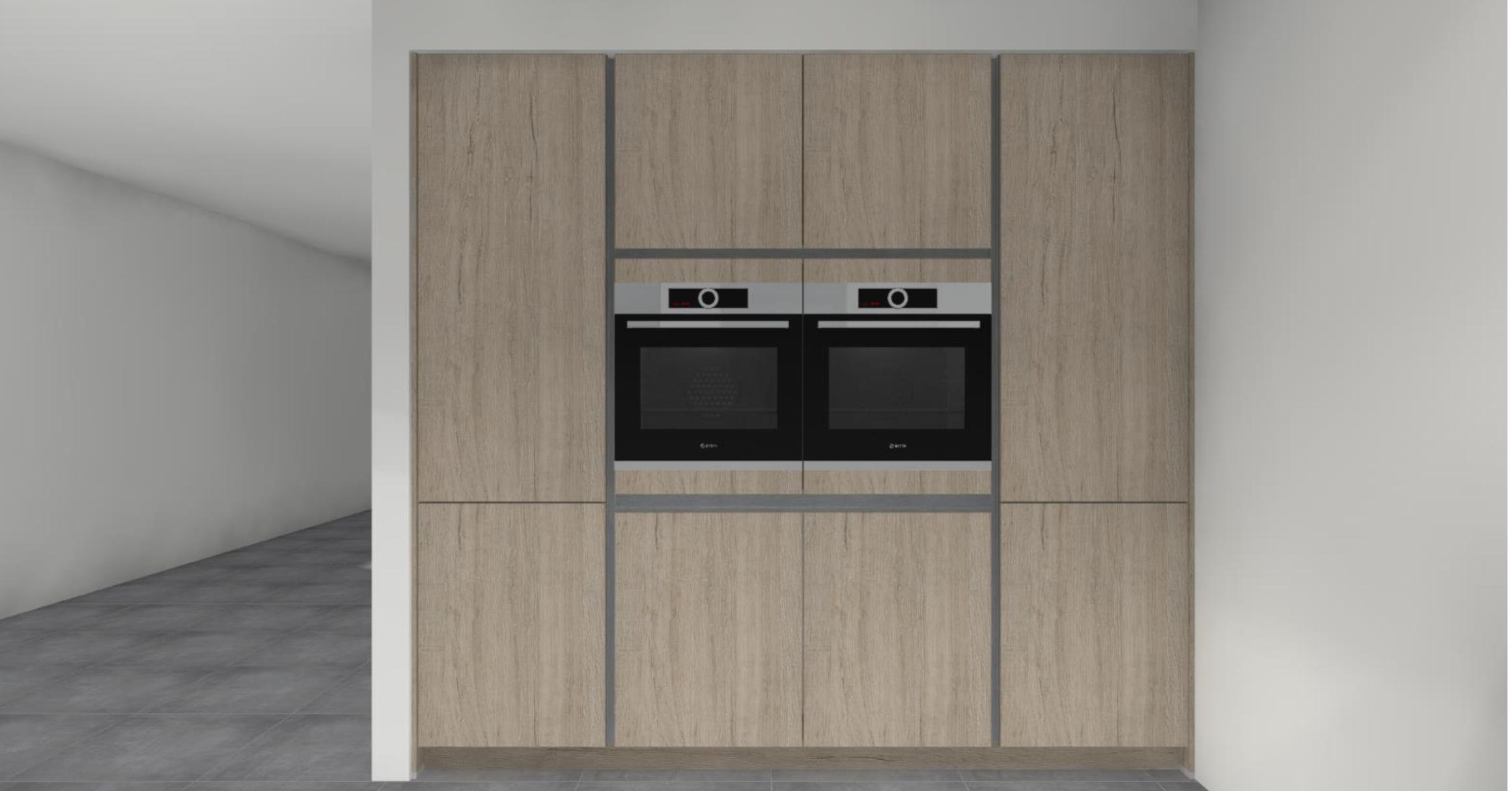 Keuken wand met ovens koelkast vriezer en servieskast nieuw