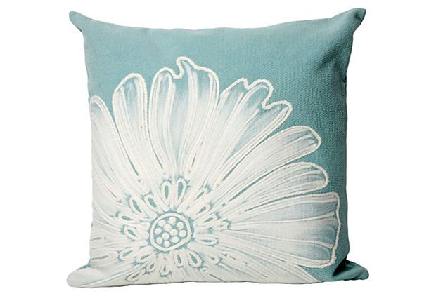 Set of 2 Flower Pillows, Aqua on OneKingsLane.com