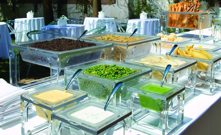 Rosseto Mod Pod Line Of Clear Acrylic Risers And Buffet Serving