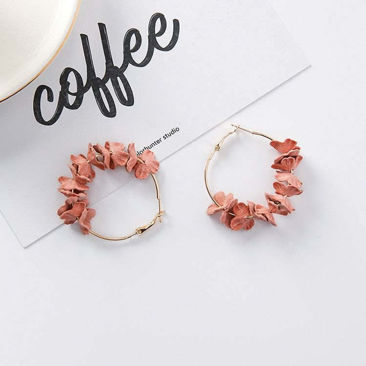 2017 Elegant Fabric Flower Drop Earrings Bijoux Sweety Colourful Petal  Alloy Ear Circle Big Earrings Charm 697339e0fcf8