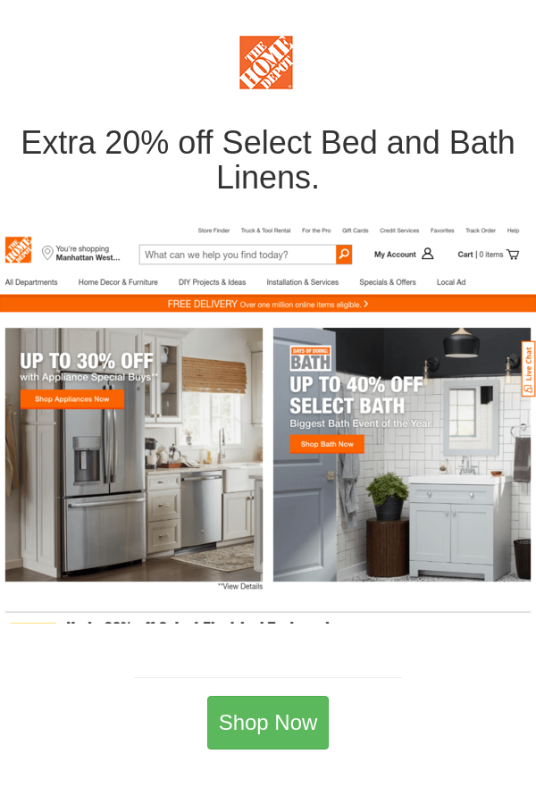 Extra 20 Off Select Bed And Bath Linens Home Depot Coupons Home Depot Home Depot Sales