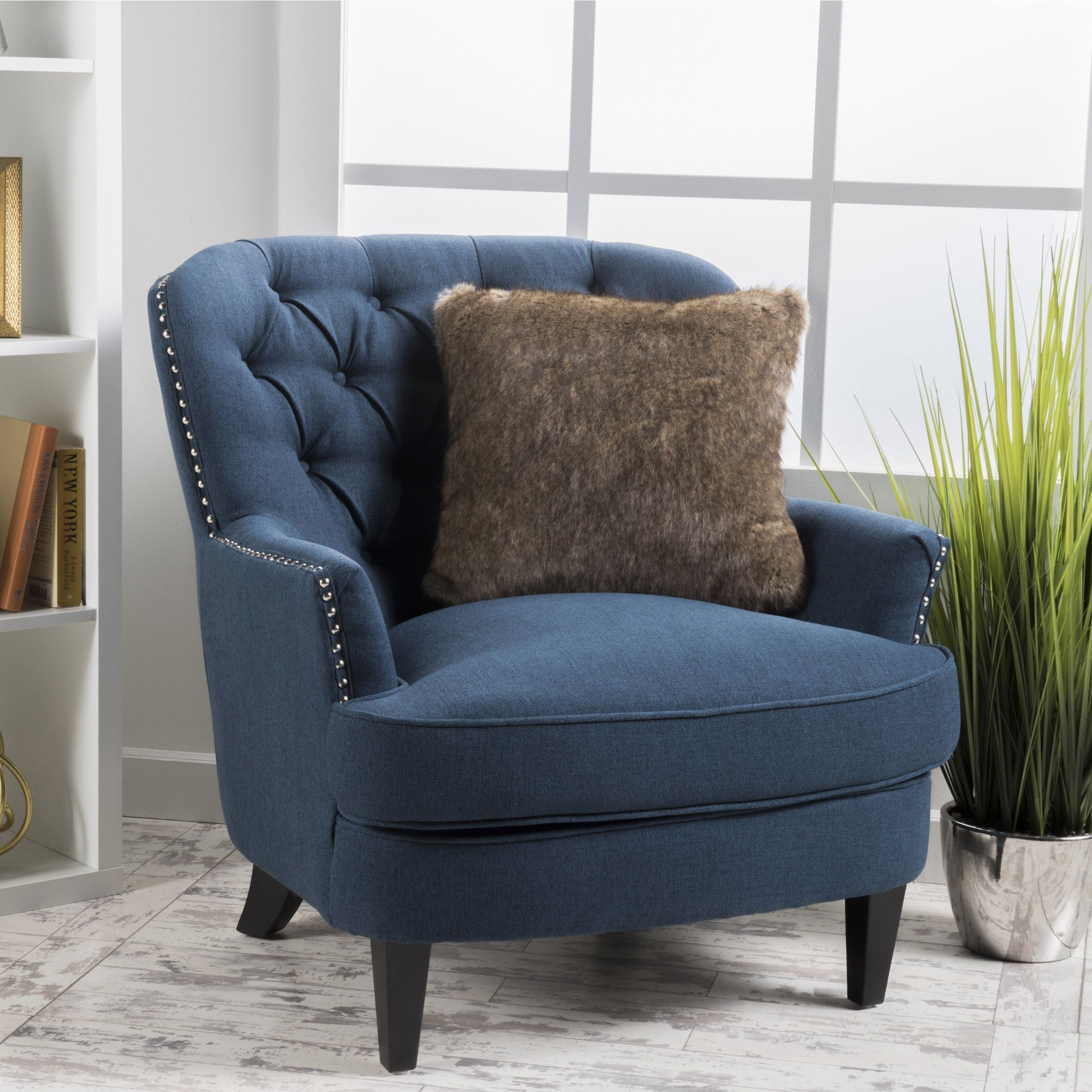 Beau Tafton Tufted Oversized Fabric Club Chair By Christopher Knight Home (Tafton  Tufted Dark Blue Fabric