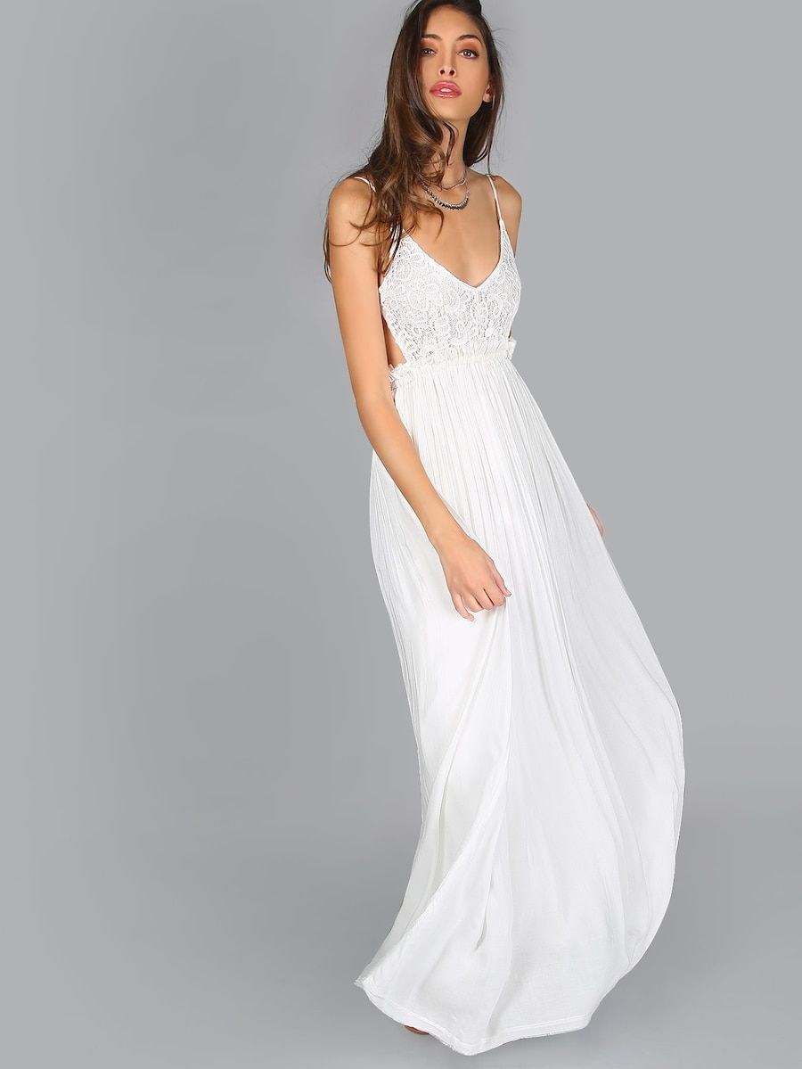 Lace overlay backless pleated maxi dress shein white