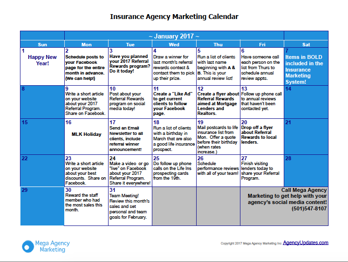 January Insurance Marketing Calendar Marketing Calendar Insurance Marketing Insurance Sales